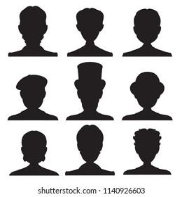 Set of silhouettes. Vintage gentleman portrait. Vector illustration.