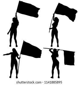 Set silhouettes of woman with flags on white background