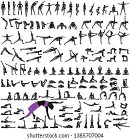 Set of silhouettes of woman practicing yoga exercises.  Icons of girl stretching and relaxing her body in many different yoga poses. Black shapes of yoga woman isolated on white background.