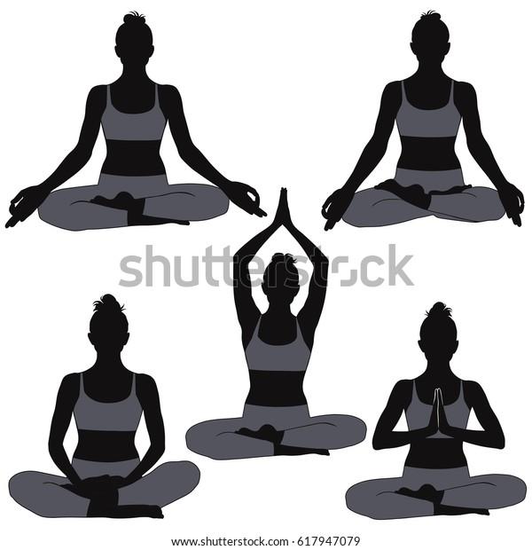 Set Silhouettes Woman Yoga Poses Meditation Stock Vector Royalty Free 617947079