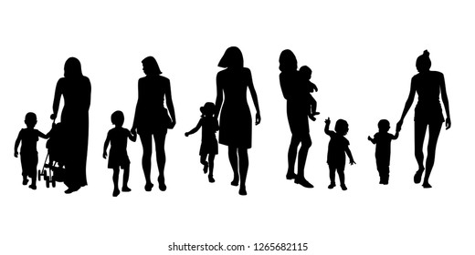 Set of silhouettes of women with children, vector. Mother's day concept.