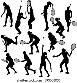 Set of silhouettes of the women who play tennis