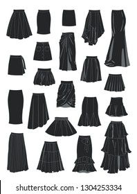 Set of silhouettes of women's skirts, a lot of different models, isolated on white background
