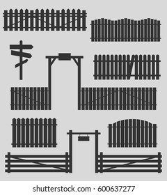 Set of silhouettes of wooden fences with gates. Vector illustration