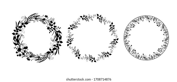 Set of silhouettes of wreaths of field herbs and plants. Black vector round frames isolated on white background. Medicinal flowers, twigs, leaves. Template design for print, cosmetics, tea, pharmacy.