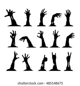 Set of silhouettes of zombie hands, collection for halloween themes and greetings, vector clip art. EPS 8.
