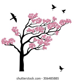 Set of silhouttes of sakura tree with birds. It can be used as a wall decal, as well as illustration on a mug, t-shirt, cloth and so on.
