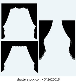 Set of silk curtains open. Isolated on blue background. Vector silhouettes