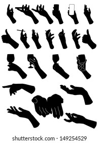Set of silouette hands . Hand holding different objects. Vector illustration