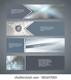 Set Silver abstract geometric mosaic background with place of text. Design elements Vector illustration EPS 10 for booklet layout page, leaflet template, vertical banner colors metalic grey, steel