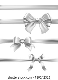 set of silver bows on white. vector decorative design elements