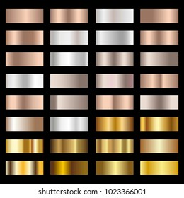 Set of Silver, bronze and gold foil texture gradation background. Vector