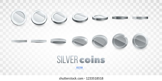 A set of silver coins. Realistic ten coins from different angles of view. Isolated on white. For your online casino design