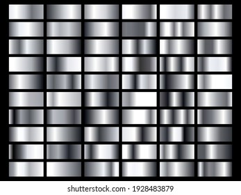 Set of silver foil texture background. Metal gradient template. Vector illustration