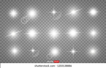 Set silver glitter bokeh lights and tinsel. Bright star, solar particles and sparks with glare effect on a transparent background. Vector EPS10