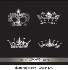 Set of silver glitter crowns. Luxury label, emblem branding. Logo design. Fashion design elements or icons.