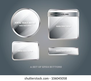 Set of silver glossy vector badges and buttons