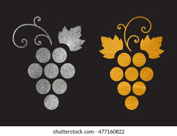 Set of silver and gold textured grapes logo. Luxury wine or vine logotype icon. Brand design element for organic wine, wine list, menu, liquor store, selling alcohol, wine company. Vector illustration