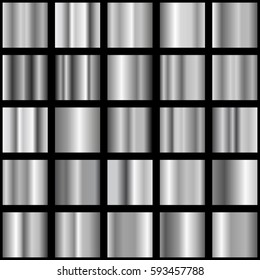 Set of silver gradients. Metallic squares collection. Silver background gradient abstract vector icon texture metallic illustration. Silver gradient collection for fashion design.