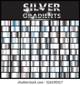 Set of silver gradients.Metallic squares collection.