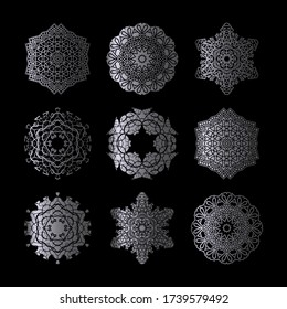 Set Silver Mandala 9 Collection Vector, Perfect set for any kind of design, logo, wedding, birthday and other holiday