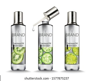 Set of Silver oil bottles with kiwi, cucumber and lime drawings. Place for brand. Vector