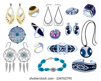 A set of silver ornaments and bijouterie, vector illustration