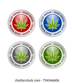 Set of silver or platinum legalize marijuana hemp (Cannabis sativa or Cannabis indica) leaf icons or badges on white background