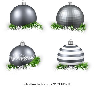 Set of silver realistic christmas balls on snow with fir branches. Vector illustration.