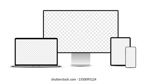 Set of silver realistic electronic devices: smartphone, tablet, laptop, display with blank checkered transparent screens.  Vector illustration.