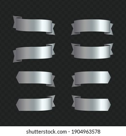 Set of silver ribbon banners on transparent background. Silver ribbons collection for your text. Vector illustration.