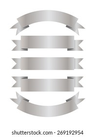 Set of silver ribbons with copy space on them.