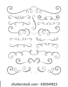 Set of silver textured hand drawn vignettes on white background. Elegant vintage calligraphic borders and dividers for greeting card, retro party, wedding invitation. Vector illustration.