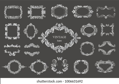 Set of silver vintage floral frames and monograms. Vector decorative borders.
