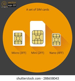 A set of SIM cards. Flat style.