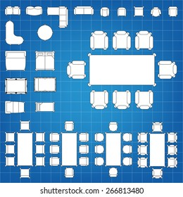 Set simple 2d flat vector icons stock vector 266813477 shutterstock set of simple 2d flat vector icons furniture for floor plan outline on blueprint technical grid malvernweather Choice Image