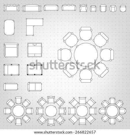 Set Simple 48 D Flat Vector Icons Stock Vector Royalty Free Cool Blueprint Interior Design Set