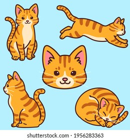 Set of simple and adorable Orange Tabby cat illustrations outlined