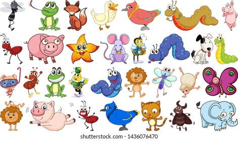 Set of simple animal character illustration