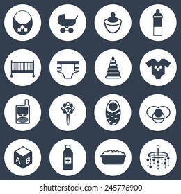 Set of simple baby care icons for your design