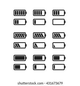 Set of simple black icons of batteries with different charge level isolated on white