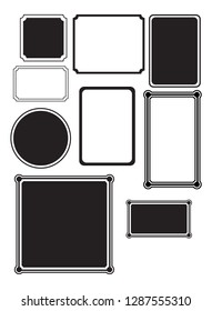 Set of simple black silhouette different shaped frames