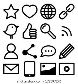Set of simple black social media icons
