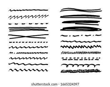 Set of simple black underline lines with pen, pencil, marker. Doodle letters. Handwriting of different lines dotted wavy. Scribble. Vector illustration