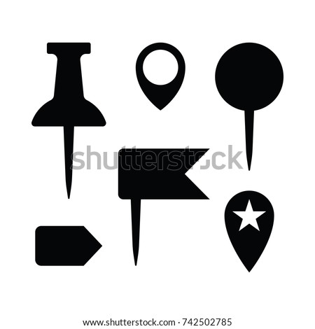 set simple black white map pins stock vector royalty free