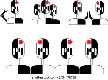 Set of simple black and white robot icons. Robots in a row, coworkers, common success. Robot holding wrench, high five. Business icons