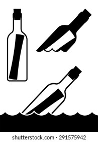 Set of simple black and white vector messages in bottles standing upright and floating on the ocean waves symbolic of a shipwreck, marooned or love and romance