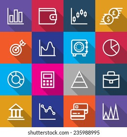 Set of Simple Business Finance Icons in Colored Square Box Graphic Designs