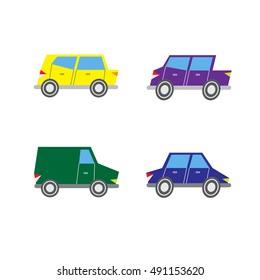 Set of simple car illustrations