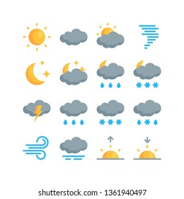 Set of simple climate icons in flat style. Vector meteo pictograms for mobile applications or websites
